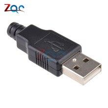 10 шт. USB 2.0 Тип Мужской USB 4 Булавки разъем с черной Пластик крышка