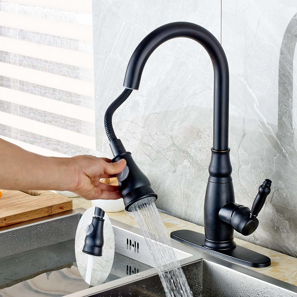 Oil Rubbed Bronze Pull Out Kitchen Faucet Rain Waterfall Mixer Tap W/Cover Plate allen roth brinkley handsome oil rubbed bronze metal toothbrush holder