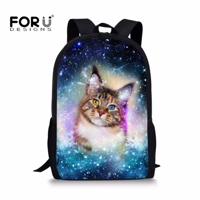 FORUDESIGNS Children School Bags Funny Cat Color Space Pet Printing School Backpack for Teenage Boys Girls Kids Book Bags Cute