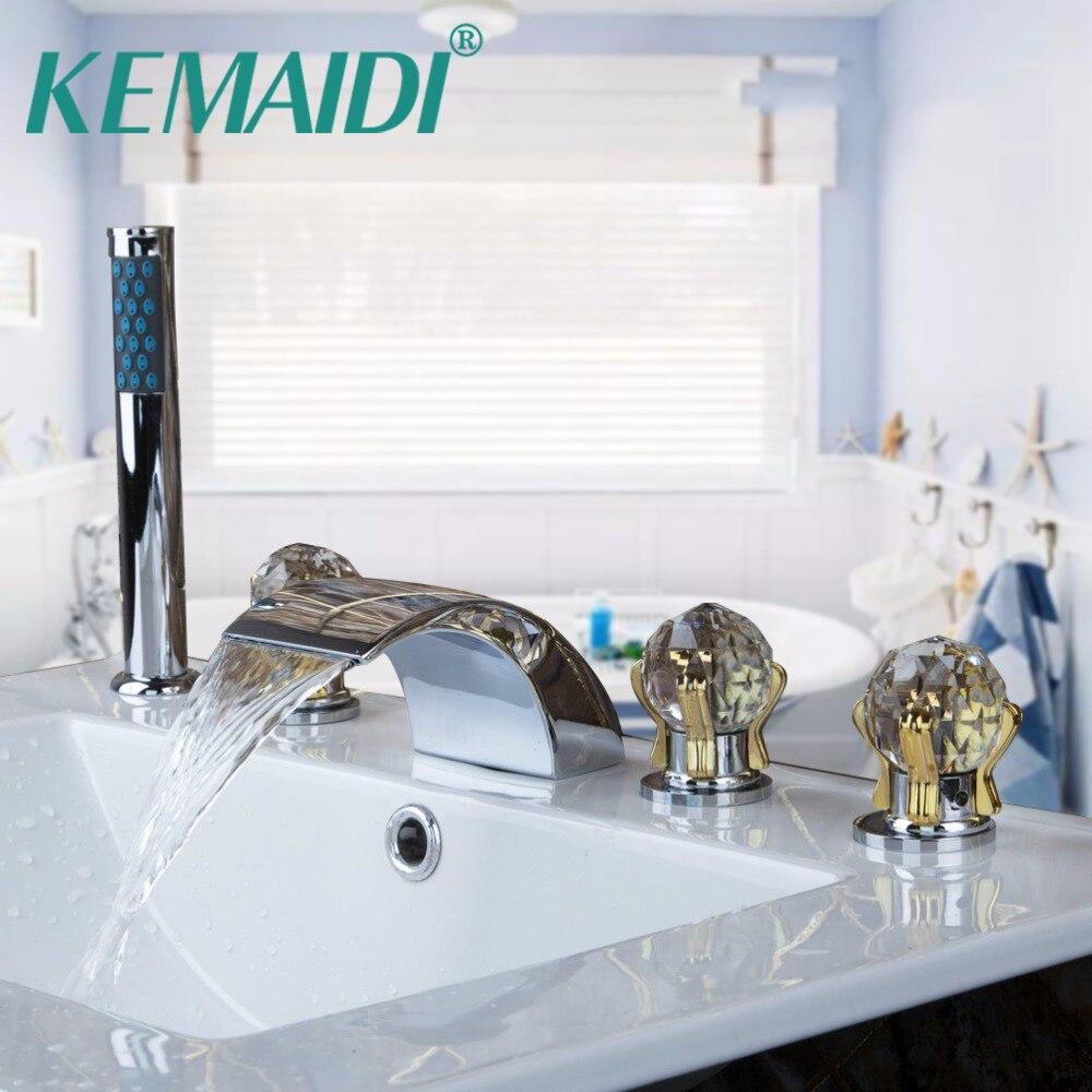 KEMAIDI бортике 5 шт. комплект кран Водопад Носик с ручной опрыскиватель Ванная комната Ванна для ванной душ