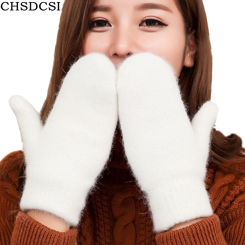 CHSDCSI Full Finger Outdoor Sports White Winter Gloves 2017 Fashion Girls Skate Wool Gloves Femme Mittens Warmer Women Gloves