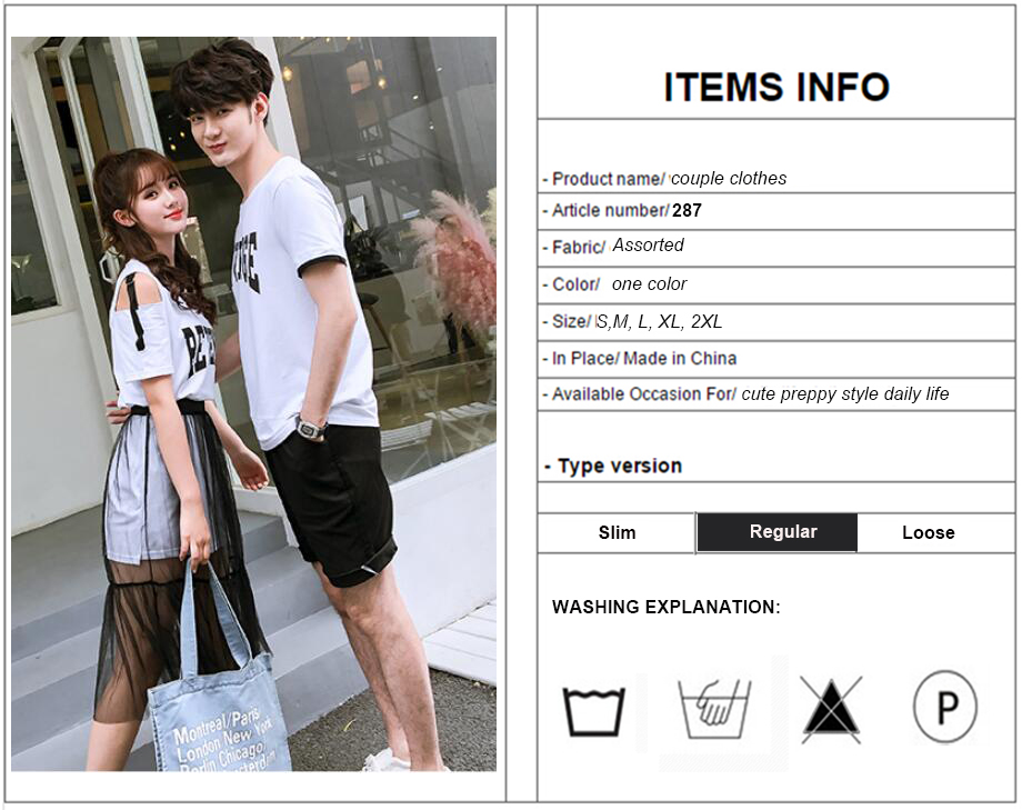 df86f89893cf Matching Couple Clothes Lovers Preppy Style Girls Summer Valentine s Date  Cute Sweet Letter Two Piece Sheer Off Shoulder Dress 00001couple -  00001couple ...