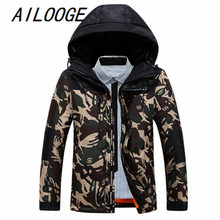 Camouflage Winter Jacket Men 2016 New Arrival Slim Fit Coats Long Sleeve Cotton-Padded Brand Fashion Parkas Duck Down 3XL