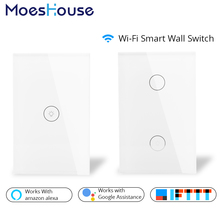 Wifi Smart Wall Touch Switch Glass Panel US Standard APP Remote Control Works with Amazon Alexa Google Home for Smart Home qiachip us plug wifi smart switch 2 ch light wall switch glass panel touch screen app remote control work with amazon alexa z3