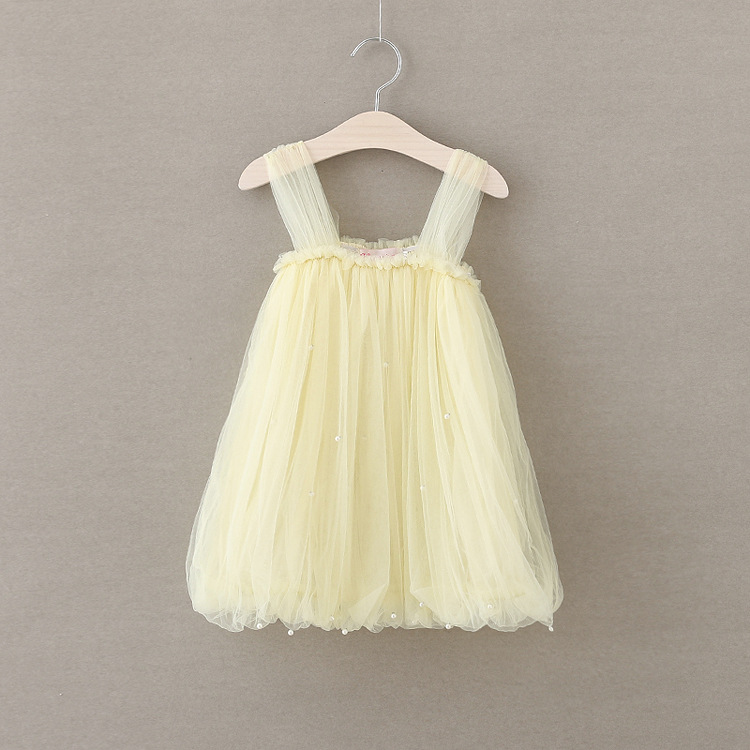 Kids Summer Mesh Clothes Baby Cute Girls Princess Pearl Dresses Flower Ruched Children Sleeveless Clothing Wholesale 5pcs/LOT