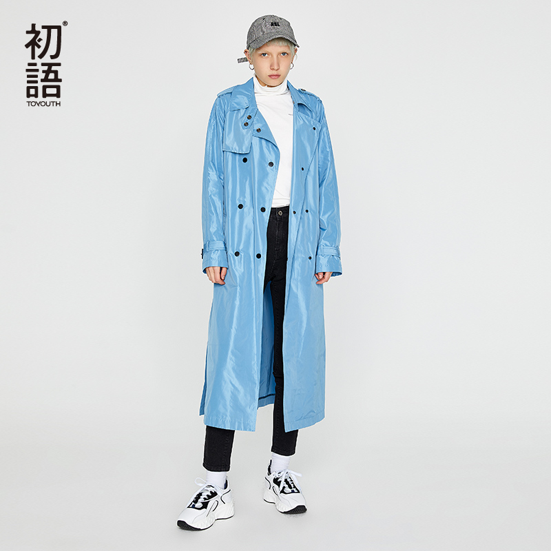 Toyouth Autumn Slid Elegant Women Long Trench Coat Casaco Feminino Plus Size Overcoat Female All Match Classic Vintage Clothing