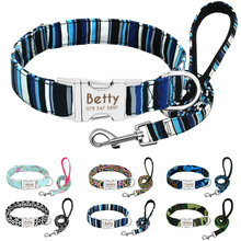 Dog Collar Personalized Nylon Puppy Walking Leash Customized Engraved Pet and For Small Medium Large Dogs