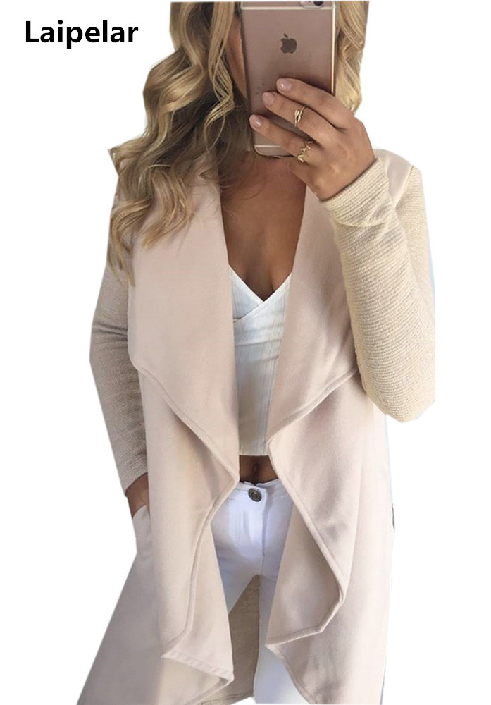 Autumn Fashion Casual Long Sleeve Solid Colors Lapel Cardigan   Trench   Irregular Hem Long Women Open Stitch   Trench   Coats