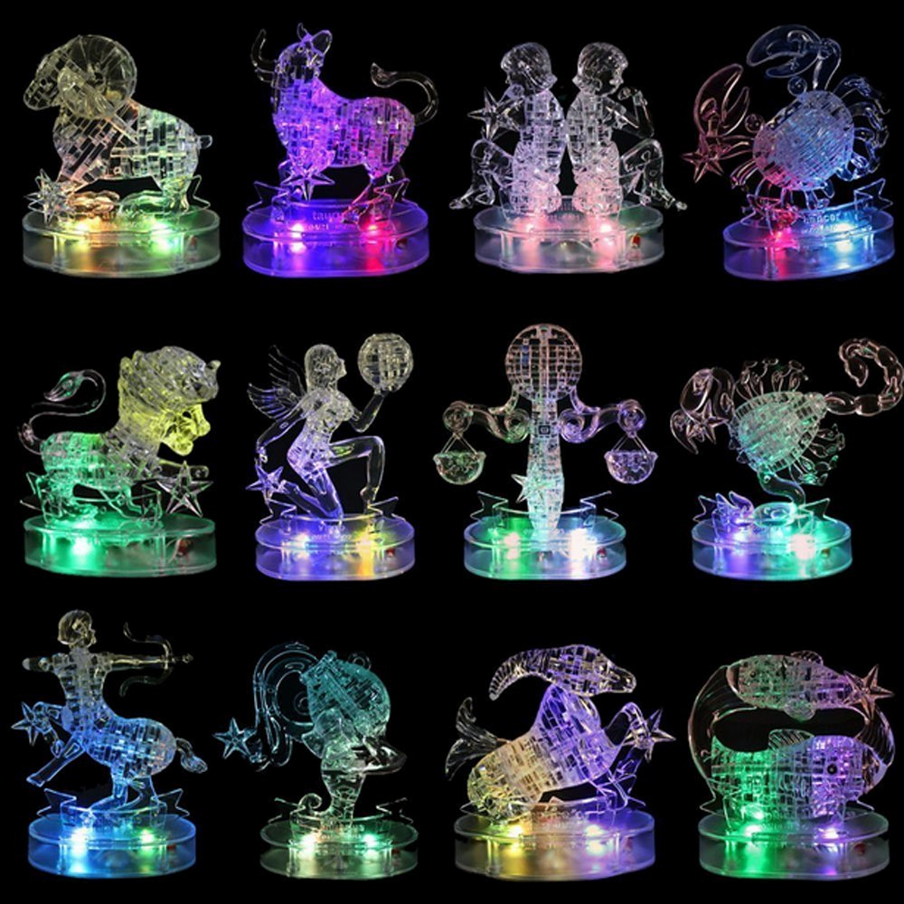 3D Crystal Puzzle LED Flashing Light Kids 12 Constellations Horoscope Jigsaw Puzzle Model Toys For Children Educational Gifts >
