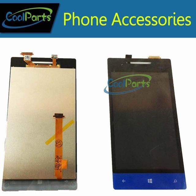 1 pc/lote azul e branco a cores display lcd e touch screen digitador assembléia para htc windows phone 8 s a620e frete grátis