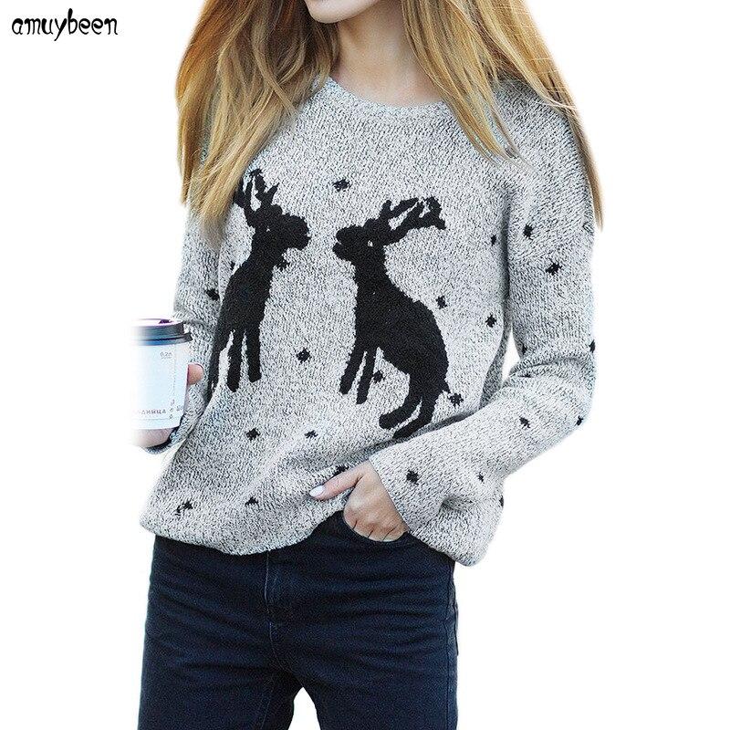 Christmas Sweater with Deer Women Winter 2017 Pullovers Long Sleeve Snowflake Reindeer Cartoon Harajuku Mori Female Sweaters