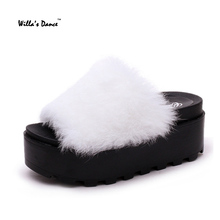 Women's Slippers 2016 Winter Fur Warm Platform Shoes Women High Quality Home Slippers Brand Pantoufle Femme