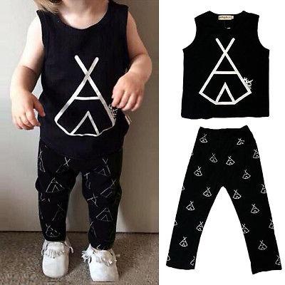 AU Baby Gril Infant Boys Girls Clothes Tops T-shirt Blouse+Pants Set Suit Outfit