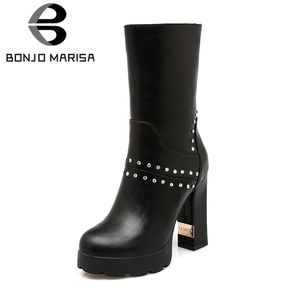 BONJOMARISA 2019 Winter Big Size 33-43 Brand Crystal Women mid-calf Boots Platform Warm Fur Boots High Heels Shoes Woman