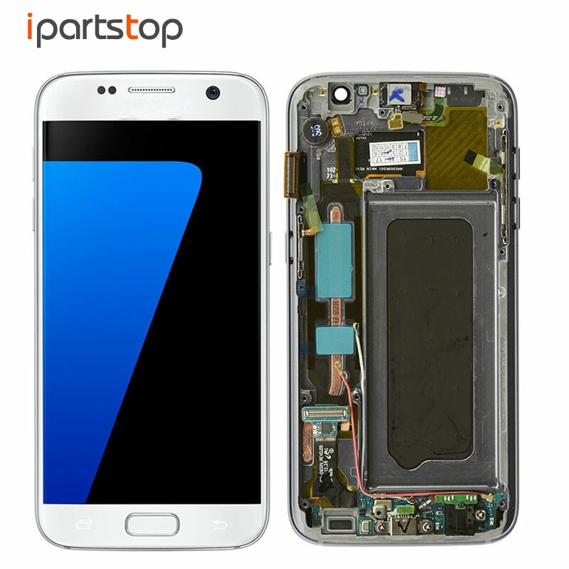 Original LCD Screen Display Touch Digitizer With Front Frame Assembly For Samsung Galaxy S7 G930 G930F G930A Black White Gold