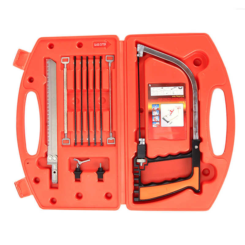 12 in 1 Magic Saw Multifunction Hand DIY Steel Saw Metal Wood Glass Saw Kit 9 Blades Woodworking Metalworking Model Tool
