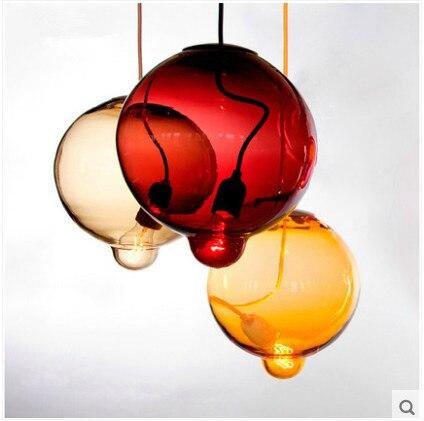 Modern Minimalist Clothing Store Children's Room Glass Ball Pendant Lights Personalized Bar Glass Lamp Colored Pendant Light personalized clothing store track lamp