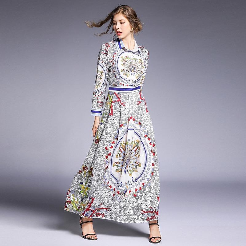 2019 летнее осеннее платье модное Брендовое подиумное дизайнерское женское платье Sukienki с длинным рукавом винтажное Повседневное платье макс