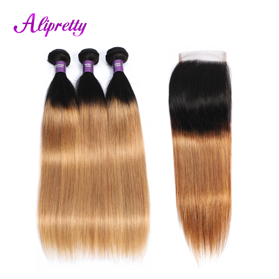 Alipretty T1B 27 Ombre Hair Bundles With Closure Brazilian Straight Hair Color Bundles With Closure Two
