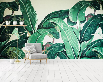 Beibehang Custom 27 photo Wallpaper Southeast Asia Tropical Rainforest Banana Leaf Background Wall Silk material 3d Wallpaper цена 2017