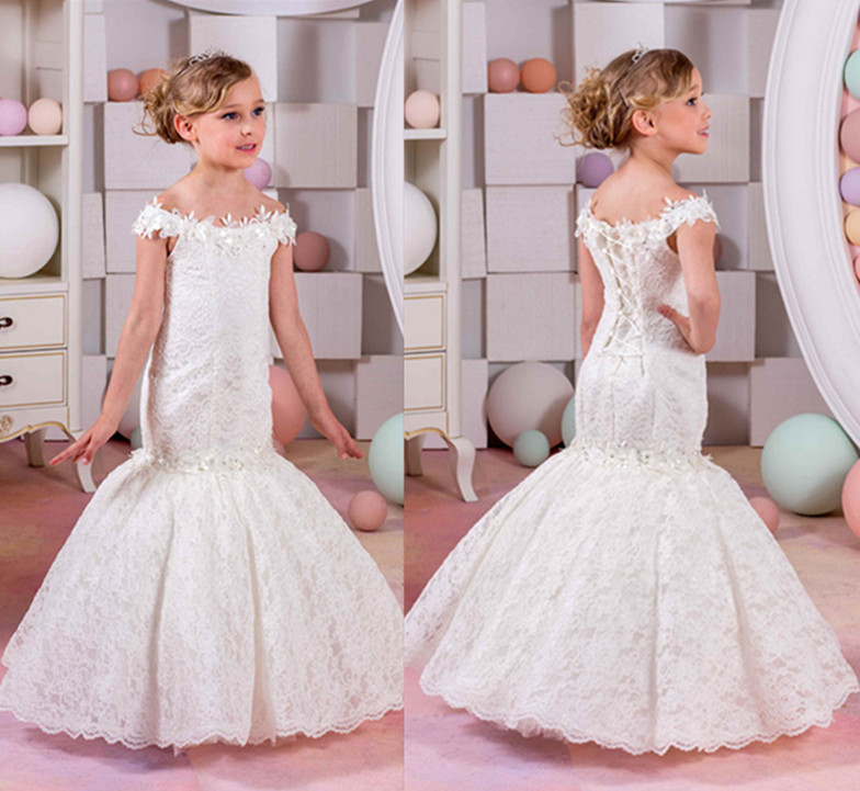 2019 Little Girls First Communion Dresses Mermaid Lace Off Shoulder Flower Girl Dresses for Weddings Christmas Gown White Ivory