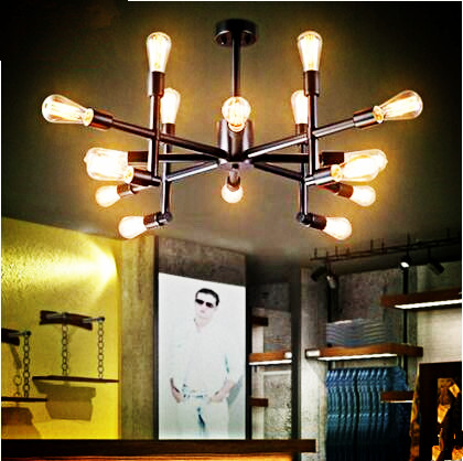 Edison Style Retro Vintage Pendant Light Fixture With 16 Lights Loft Industrial Lamp Hanging Lighting Lampe Lamparas 2 pcs loft retro light rusty color hanging lamp cafe bar pendant lights creative edison lamps industrial style pendant lighting