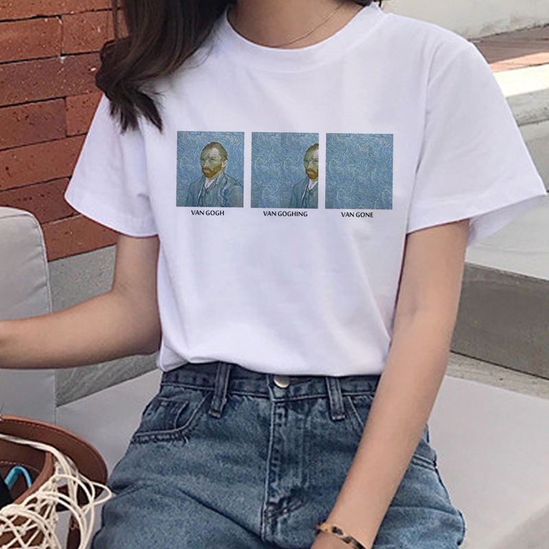 New Van Gogh Oil Art Women T Shirt Harajuku Ullzang Funny T-shirt Grunge Aesthetic Print Tshirt Korean Style 90s Top Tees Female