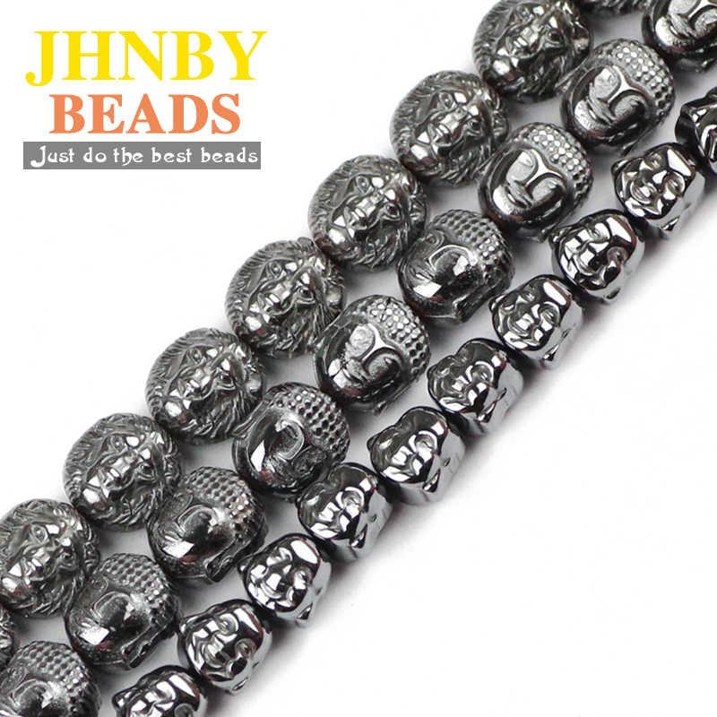 JHNBY Lion budda Maitreya głowa czarny hematyt koraliki kamień naturalny luźne koraliki biżuteria bransoletka dokonywanie DIY ustalenia akcesoria
