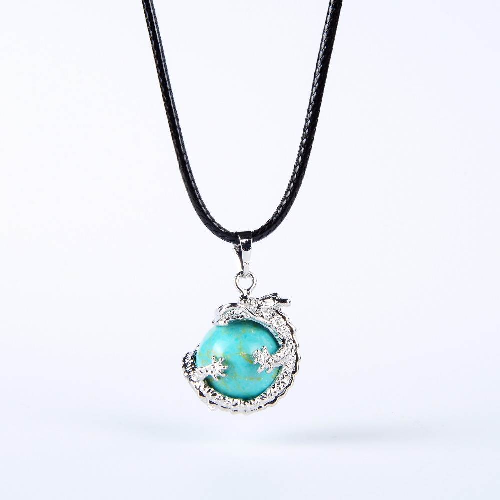 Beautiful Round Gem Stone Dragon Necklace (several colors)
