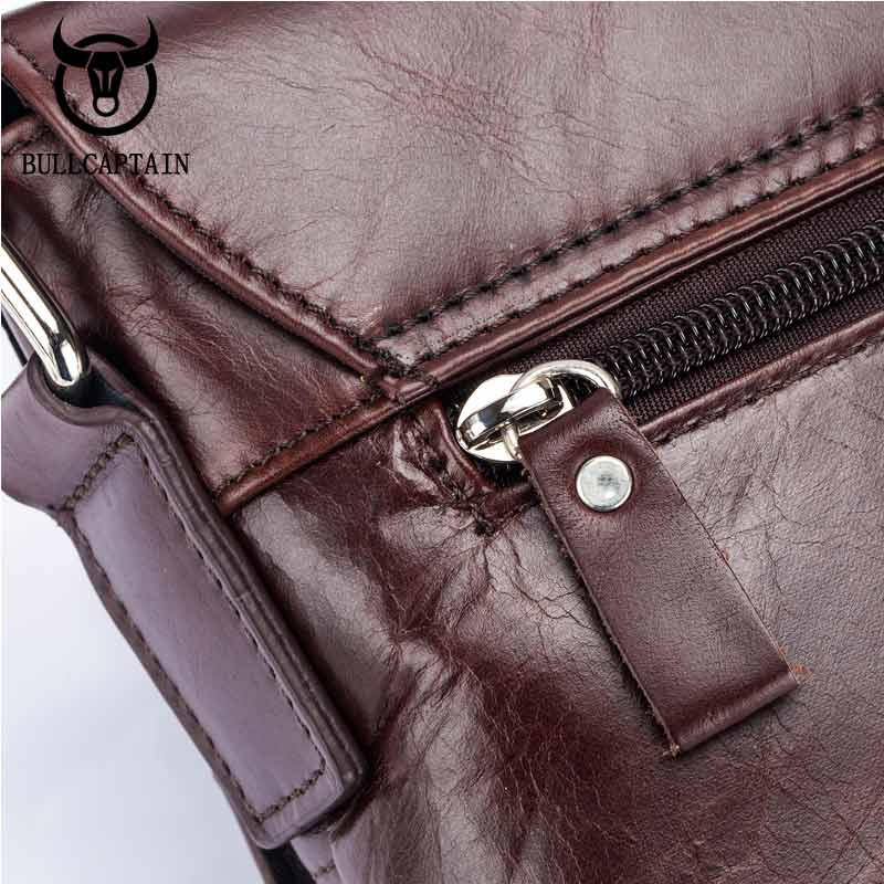 a7a5e4385c9b Bullcaptain 2018 new hombres Genuine Leather Message Bag brand Business  Vintage Shoulder Casual Crossbody Bag For Men Handbags -in Buckets from  Luggage ...