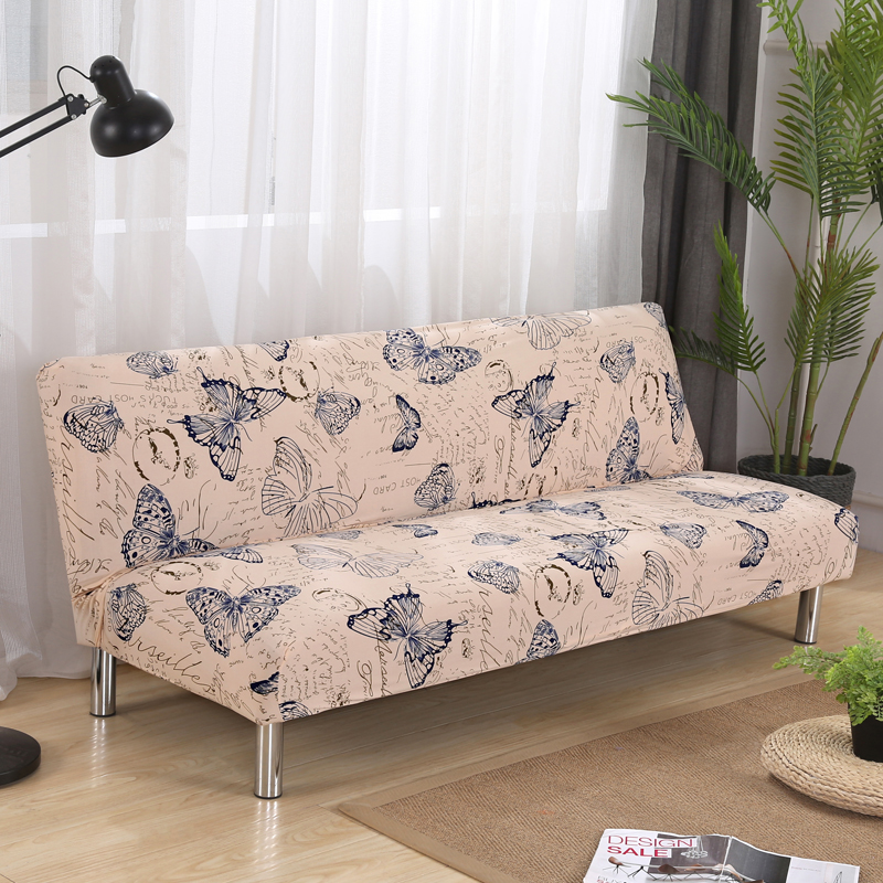 Papa&Mima Butterfly Print Stretch <font><b>Sectional</b></font> No armrests Sofa Covers Polyester <font><b>fabric</b></font> Soft Slipcovers Elastic Couch Cover