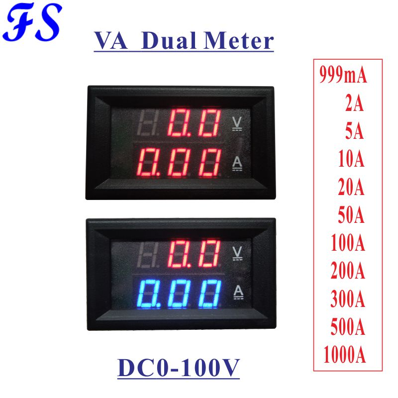 Dc 0-100 V Voltmeter Amperemeter Dc 0-5a 10a 20a 50a 100 Eine 200a 300a 500a 100 0a Digital Led Spannung Strom 0,28 ''display Schwarz Abdeckung Fest In Der Struktur