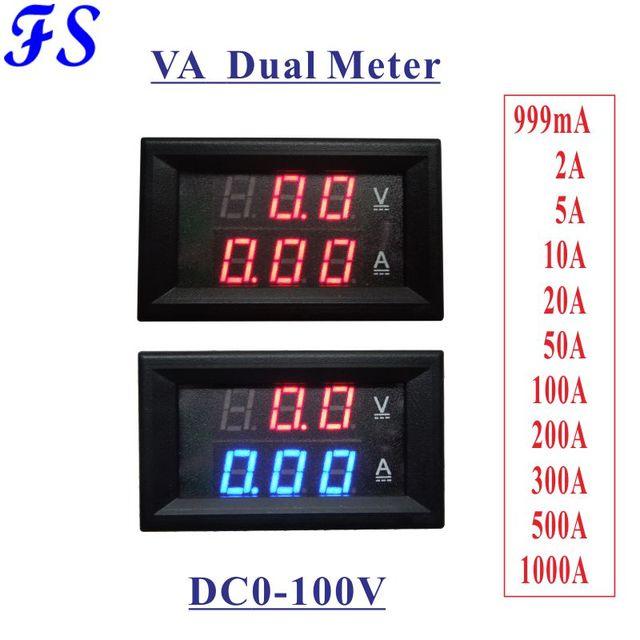 DC 0-100V Voltmeter Ammeter DC 0-5A 10A 20A 50A 100A 200A 300A 500A 1000A Digital LED Voltage Current 0.28'' Display Black Cover