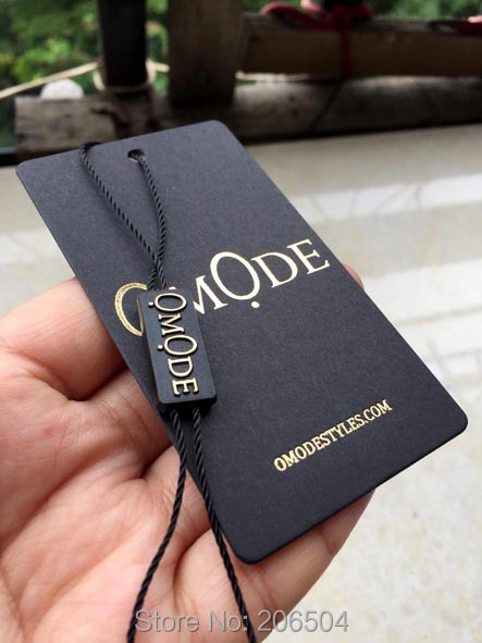 black paper with gold  color printing custom swing tags