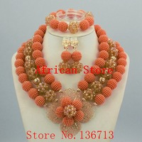 Fashion Costume Bridal Imitation Pearl Nigerian Wedding African Beads Jewelry Set Crystal Indian Necklace and Earring set 924 2