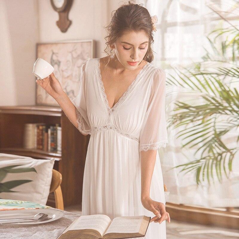 Sexy V-neck Cotton NightDress Women Sexy Sleepwear Half Sleeve Mesh Princess Nightgown Long Nightie Long Gowns