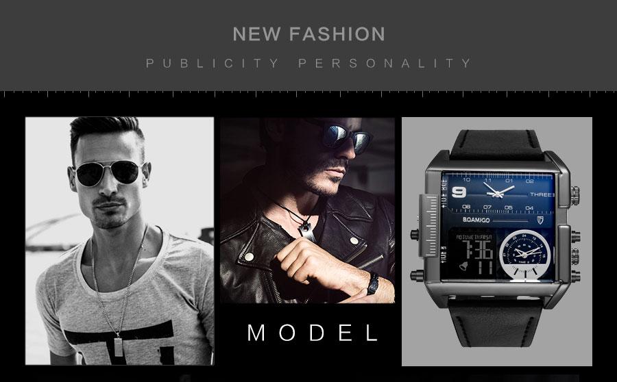 HTB170c0yMKTBuNkSne1q6yJoXXaX BOAMIGO brand men sports watches 3 time zone big man fashion military LED watch leather quartz wristwatches relogio masculino