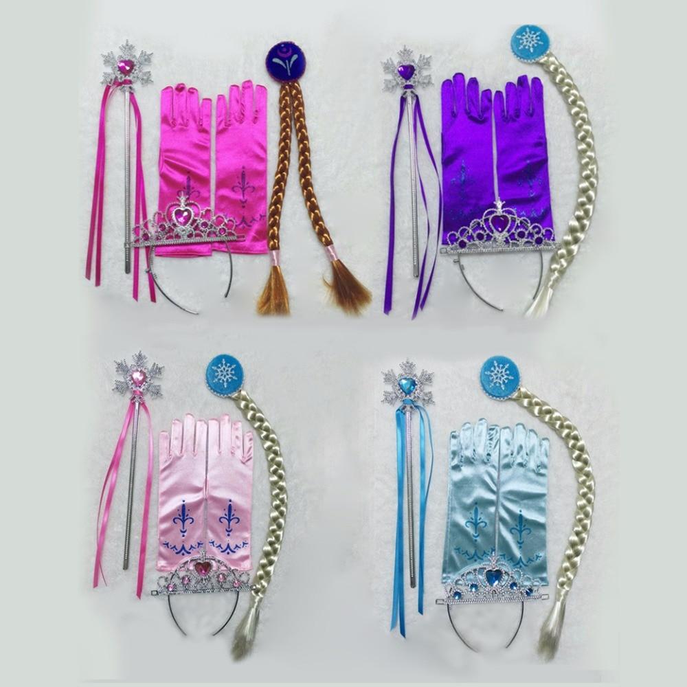 4pcs/set Party Supplies Accessories Elsa Anna Crown Magic Wig Wand Glove Princess Crown Hair Accessories