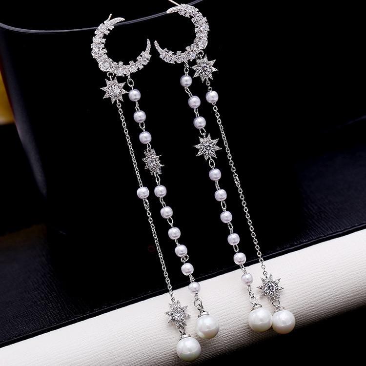 2019 European Temperament long moon stars pearl tassel earring female Crystal from Swarovski 925 silver needle earring wholesale
