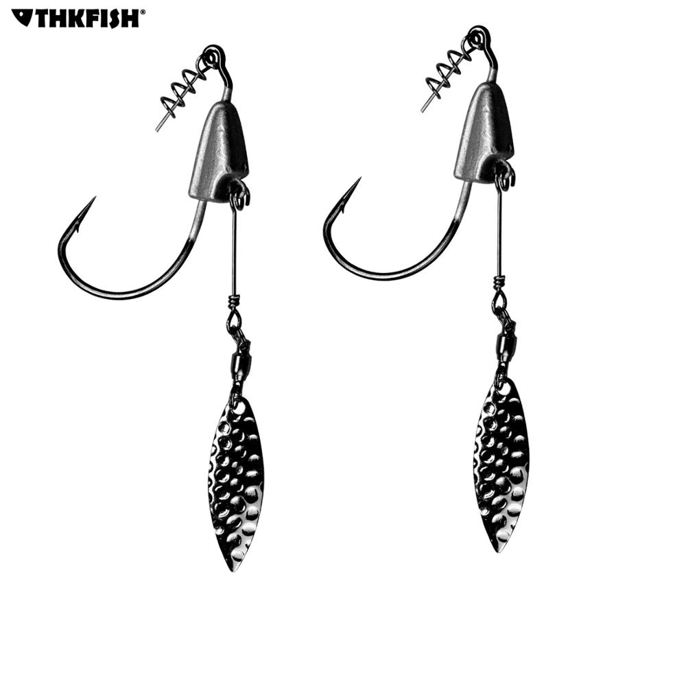 2pcs/4pcs Jig Head Hook #3/0 #4/0 #5/0 Fishing Swimmer Hooks Barbed Blade Swim Jig Hooks For Bass Fishing