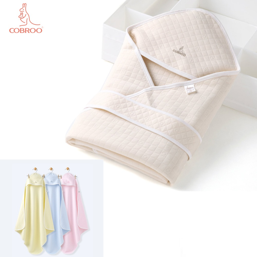 COBROO Baby Blanket Newborn Swaddle for Spring/Autumn/Winter 100% Cotton Solid Baby Swaddling Sleepsack for 0-12 Months
