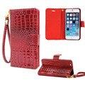 Alça de mão carteira case para iphone 5 5s tampa articulada de luxo crocodile grain leather pouch case para apple iphone se telefone móvel saco