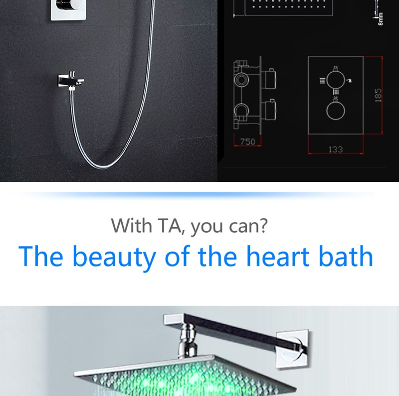 LED Shower Mixer Set Thermostat Faucet Shower Shower Head Powered by Water Square Saving Water Chromed Spout (12)