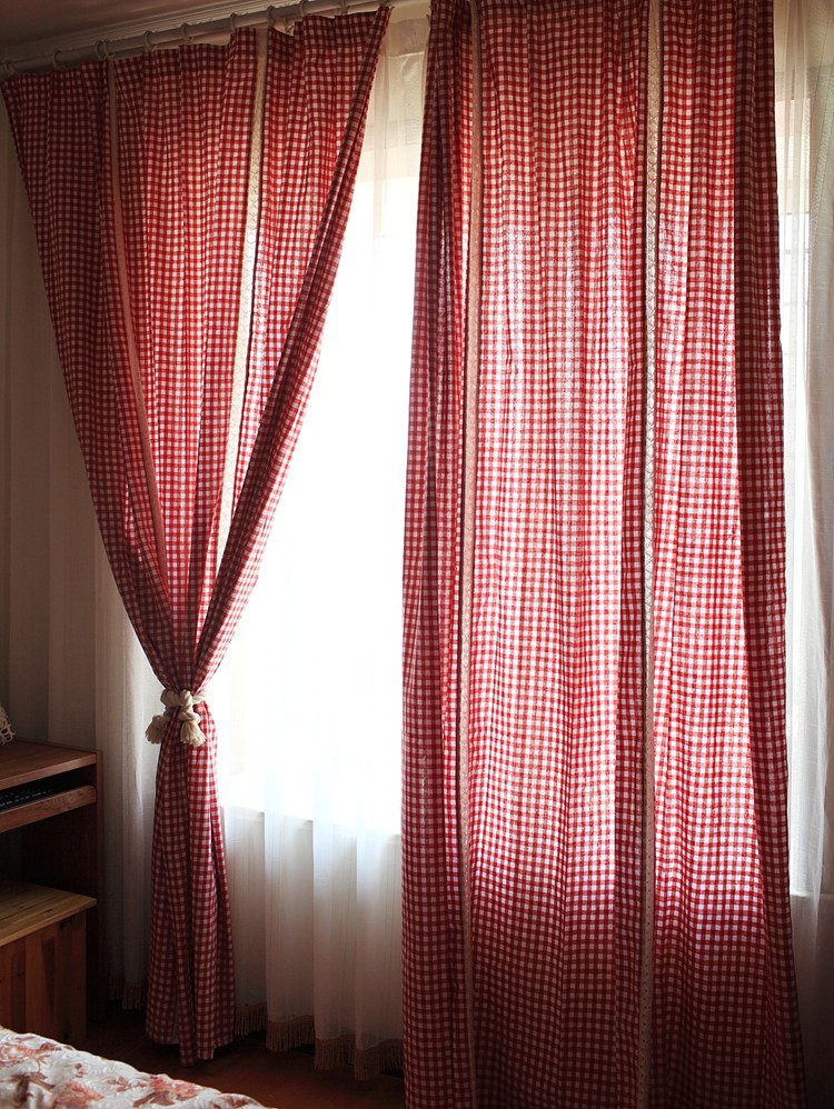 Red White Gingham Checkered Plaid Living Room Curtain Lace Joint Finished  Curtain In Curtains From Home U0026 Garden On Aliexpress.com | Alibaba Group