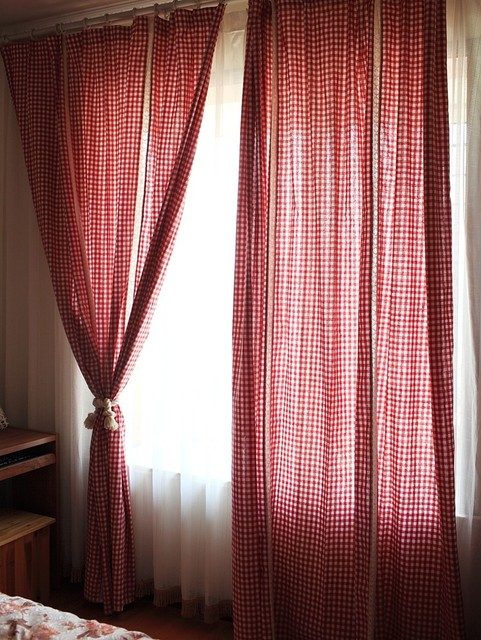 Red White Gingham Checkered Plaid living room curtain lace joint ...