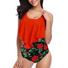 2019 New Plus Size Two Piece Swimsuit Tankini Floral Print Swimwear Women High Waist Bikini Bottom Swimming suit for Women