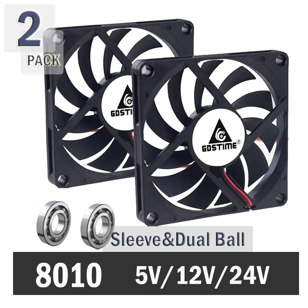 2Pcs Gdstime 5V 12V 24V 80mm 80mm X 80mm X10mm Computer Case Fan PC Latop CPU Cooling Fan Sleeve/Ball Bearing USB/2PIN/3PIN Fan