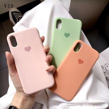VZD for iphone x mobile phone case iphone8plus soft shell xs max female models 6s/xr/7 love liquid silicone