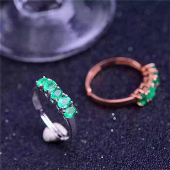 Emerald ring Natural real emerald 3mm* 4mm 925 sterling silver Free shipping gems For men or women rings