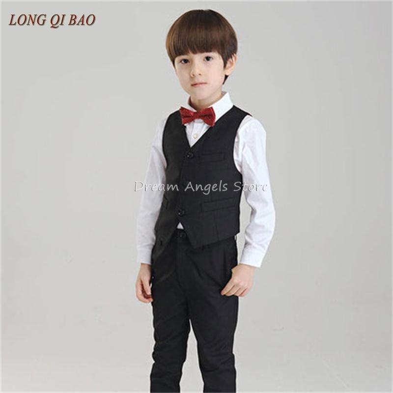 (Vest+shirt+bow tie+pant) New summer clothing sets kids Top boys Flower girl black kids clothes children School uniforms suit